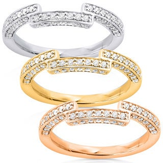 Annello 14k Gold 1/4ct TDW Round Diamond Curved Wedding Band