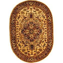 Safavieh Handmade Classic Heriz Gold/ Red Wool Rug (4'6 x 6'6)
