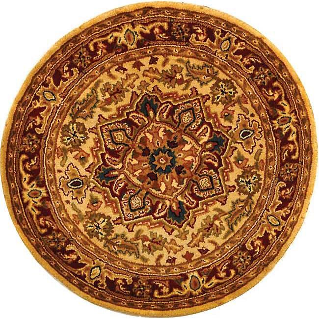 Safavieh Handmade Classic Heriz Gold/ Red Wool Rug (6' Round)