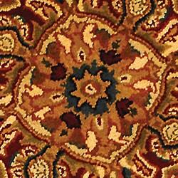 Safavieh Handmade Classic Heriz Gold/ Red Wool Rug (6' Round) - Thumbnail 1
