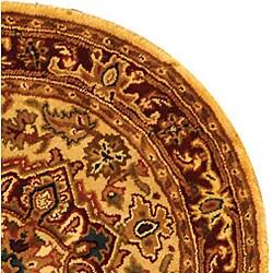 Safavieh Handmade Classic Heriz Gold/ Red Wool Rug (6' Round) - Thumbnail 2