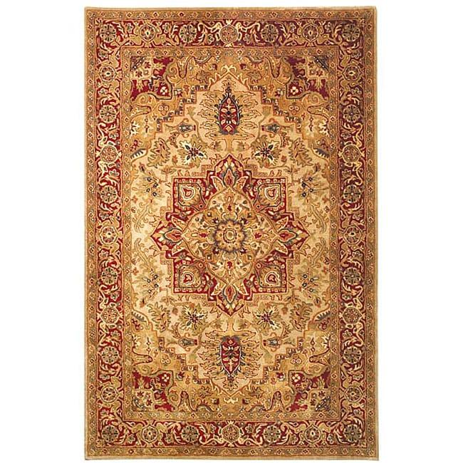 """Safavieh Handmade Classic Heriz Gold/ Red Wool Rug - 7'6"""" x 9'6"""""""