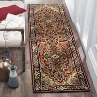 Safavieh Handmade Classic Heriz Red/ Navy Wool Runner Rug - 2'3 x 12'
