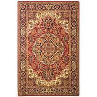 Safavieh Handmade Classic Heriz Red/ Navy Wool Rug - 4' x 6'