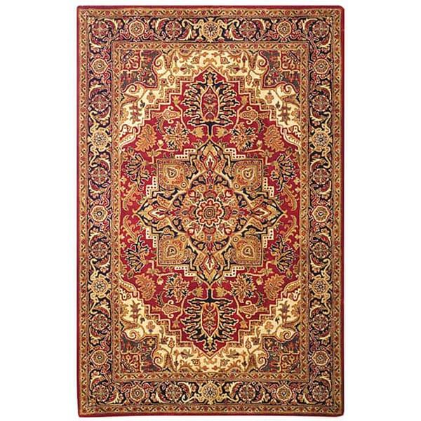 Safavieh Handmade Classic Heriz Red Navy Wool Rug 5 X