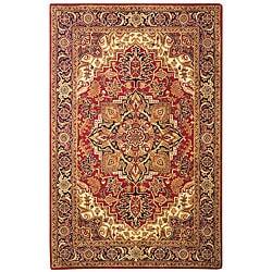 Safavieh Handmade Classic Heriz Red/ Navy Wool Rug (7'6 x 9'6)