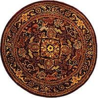 Safavieh Handmade Classic Heriz Red/ Navy Wool Rug (8' Round)