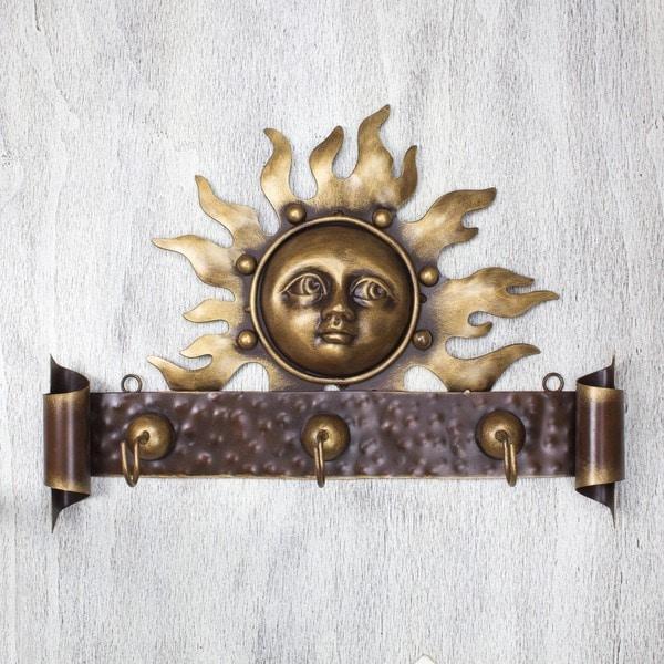 Handmade Iron 'Curious Sun' Coat Rack (Mexico)