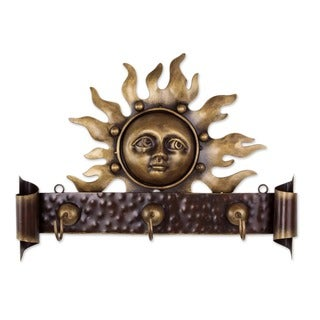 Handmade Iron 'Curious Sun' Coat Rack (Mexico)
