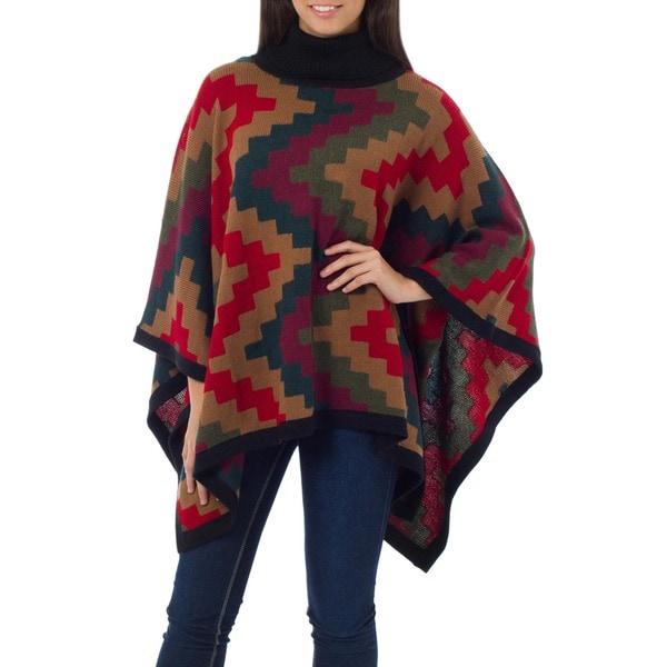 Handmade Alpaca Wool Pyramids Multi Color Poncho (Peru)
