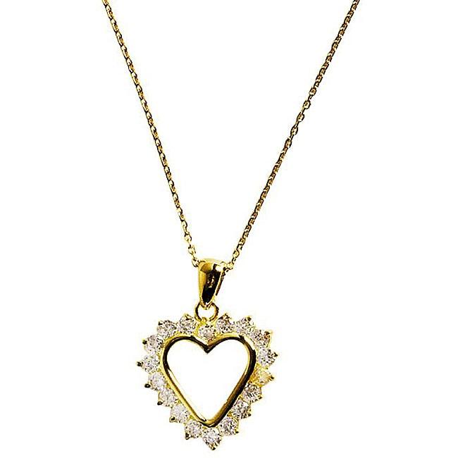 Simon Frank 14k Gold Overlay Diamoness Affection Heart Necklace