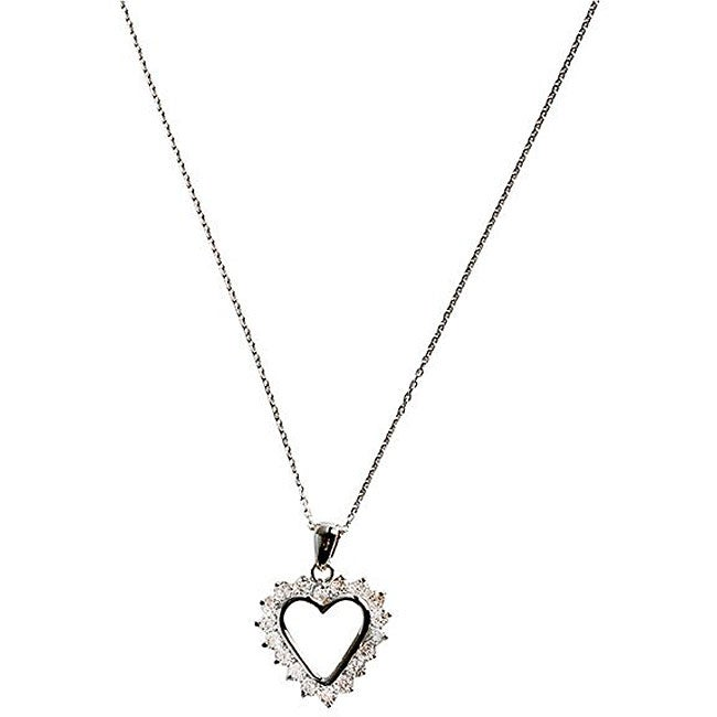 Simon Frank 14k White Gold Overlay CZ Affection Heart Necklace