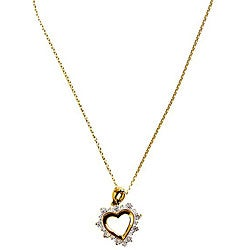 Simon Frank 14k Gold Overlay Diamoness Sentiment Heart Necklace