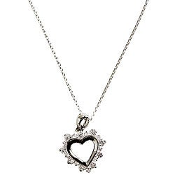 Simon Frank 14k White Gold Overlay CZ Sentiment Heart Necklace