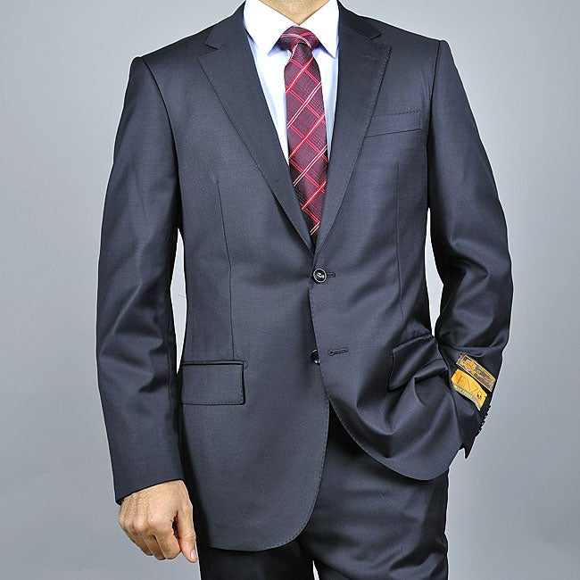 EnzoMen's Non-pleated Solid Black Wool Suit