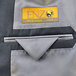 EnzoMen's Non-pleated Solid Black Wool Suit - Thumbnail 1
