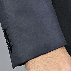 EnzoMen's Non-pleated Solid Black Wool Suit - Thumbnail 2