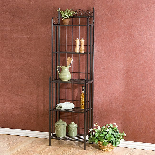 Copper Grove Blind Bay Textured Grey Metal Bakers Rack