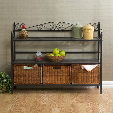 Copper Grove Stoyoma Metal Baker's Rack with 3 Rattan Drawers
