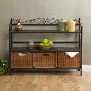 Harper Blvd Baker's Rack with 3 Rattan Drawers