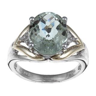 Miadora Silver and 14k Gold Green Amethyst Diamond Ring