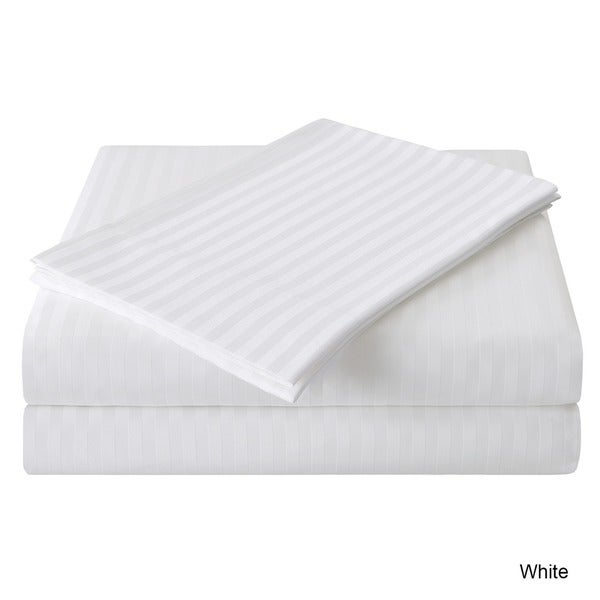 Fitted Sheet All USA Size White Stripe 100/% Cotton 800-TC 15 Inch Deep Pocket