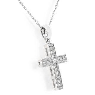 Annello by Kobelli 14k White, Yellow or Rose Gold 1/6ct TDW Diamond Cross Necklace