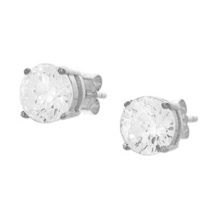 Journee Collection  Sterling Silver 6-mm Solitaire Cubic Zirconia Stud Earrings