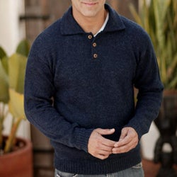 Handmade Alpaca Wool 'Ocean Blue' Men's Sweater (Peru)