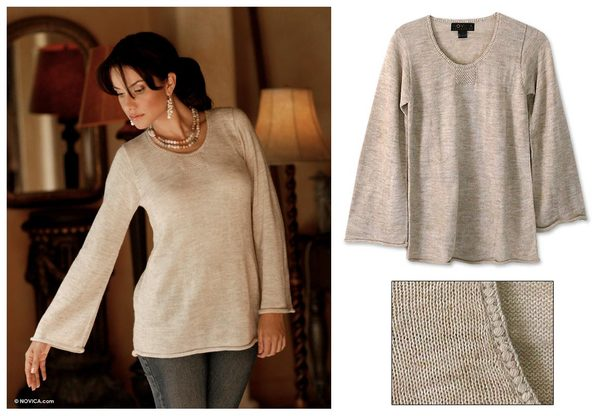 Artisan Charisma Handcrafted Alpaca Blend Beige Womens Long Sleeve Pullover Sweater (Peru)