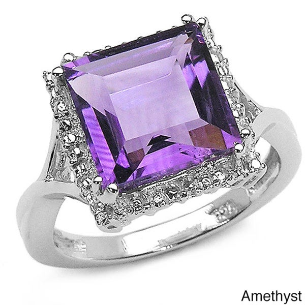 Malaika Sterling Silver Square-cut Gemstone Ring