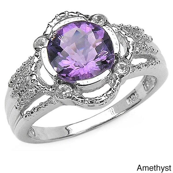Malaika Sterling Silver Gemstone Round Ring