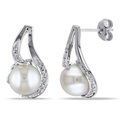 Miadora Sterling Silver FW Pearl and Diamond Accent Earrings (9.5-10 MM)