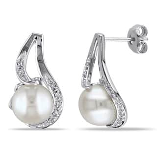 Miadora Sterling Silver FW Pearl and Diamond Accent Earrings (9-10 mm)|https://ak1.ostkcdn.com/images/products/3699549/P11762043.jpg?impolicy=medium