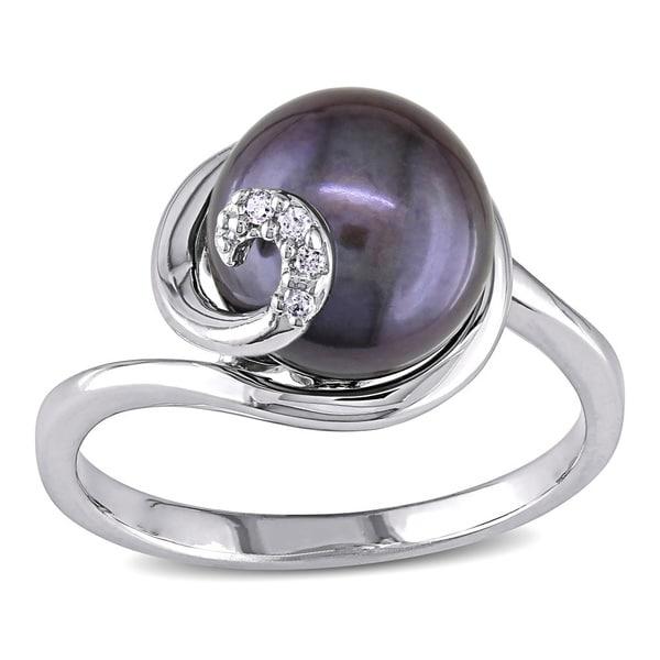 Miadora Sterling Silver Black FW Pearl Ring (9.5-10 MM)