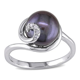Miadora Sterling Silver Black FW Pearl Ring (9-10 mm)