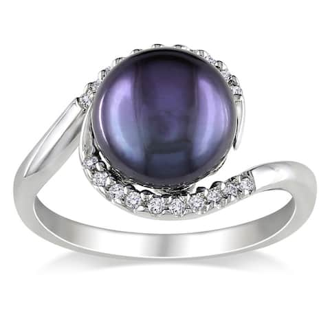 Miadora Silver Black FW Pearl and 1/10ct TDW Diamond Ring (H-I, I2-I3)