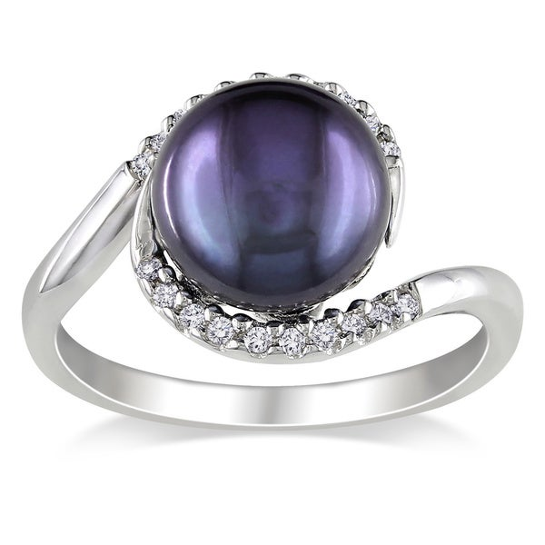 Miadora Silver Black FW Pearl and 1/10ct TDW Diamond Ring (H-I, I2-I3)