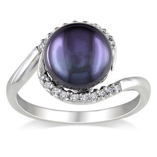 Miadora Silver Black FW Pearl and 1/10ct TDW Diamond Ring (H-I, I2-I3) (9-10 mm)