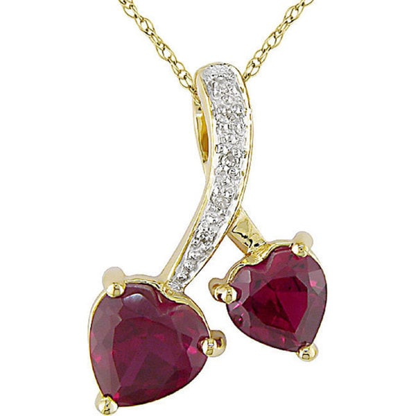 Miadora 10k Gold Created Ruby and Diamond Double Heart Necklace