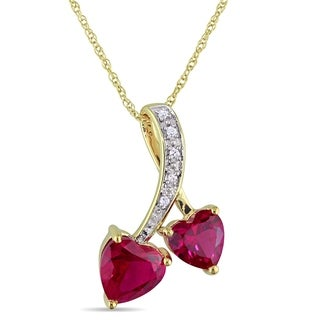 Miadora 10k Gold Created Ruby and Diamond Accent Double Heart Necklace