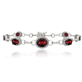 Glitzy Rocks Sterling Silver Garnet and CZ Tennis Bracelet