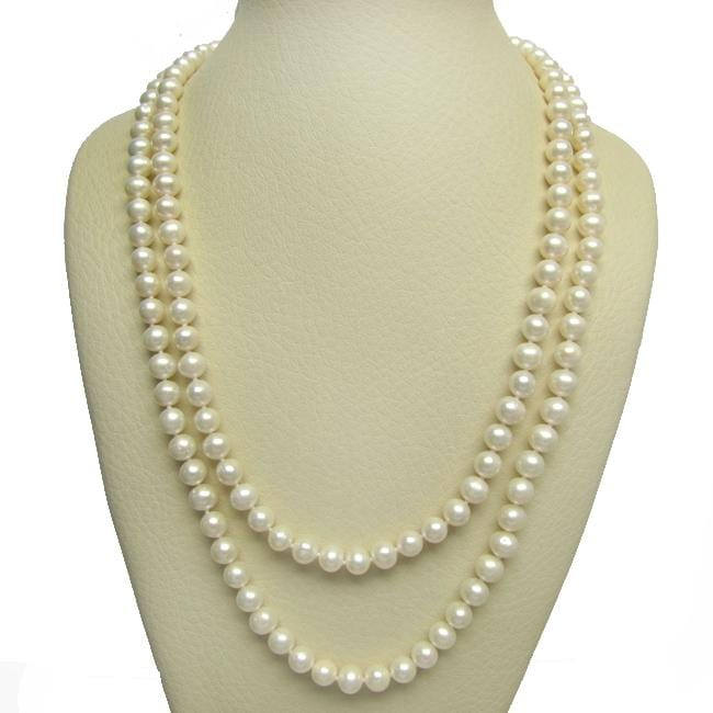White Freshwater Pearl 48-inch Necklace (9-10 mm)