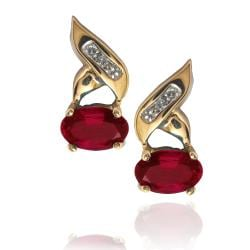 Michael Valitutti 10k Yellow Gold Created Ruby and Diamond Earrings - Thumbnail 1