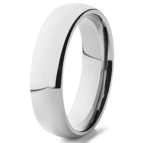 Men's Polished Titanium Domed Comfort-fit Wedding Band - 6mm Wide