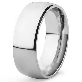 Polished Titanium Domed Comfort Fit Band (8 mm)