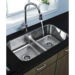 VIGO Contemporary 32-Inch Undermount Stainless-Steel 18-Gauge Double-Bowl Kitchen Sink - Thumbnail 2