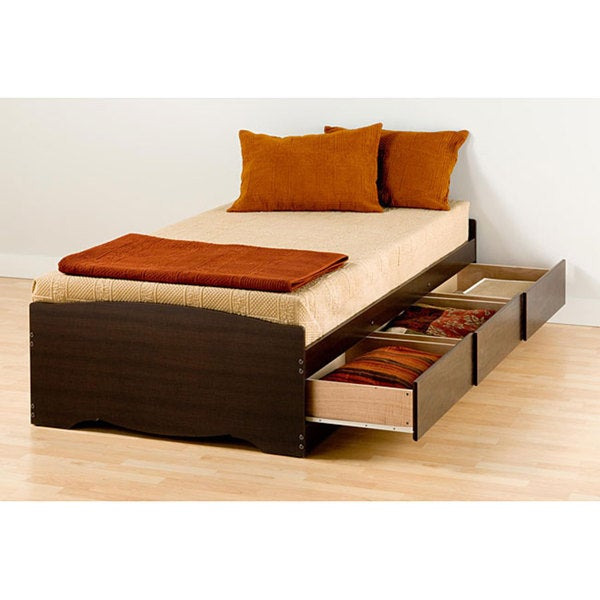 Espresso Twin Mate's Platform Storage Bed with 3 Drawers