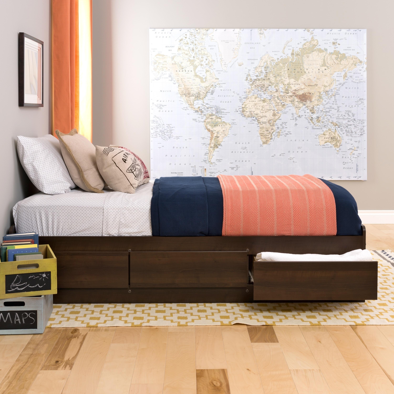 Prepac Espresso Twin Mate's Platform Storage Bed with 3 D...