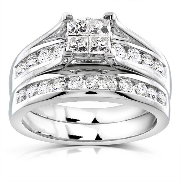 Annello by Kobelli 14k Gold 1ct TDW Princess Diamond Bridal Ring Set (H-I, I1-I2)
